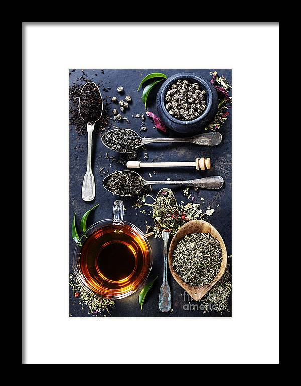 Hot Framed Print featuring the photograph Tea Composition With Different Kind Of by Natalia Klenova