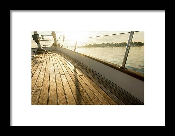 Sailboat Framed Print featuring the photograph Teak Deck Of 62 Ft Sailboat by Gary S Chapman
