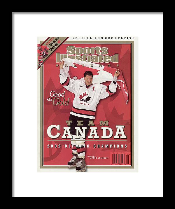 The Olympic Games Framed Print featuring the photograph Team Canada Mario Lemieux, 2002 Winter Olympic Champions Sports Illustrated Cover by Sports Illustrated