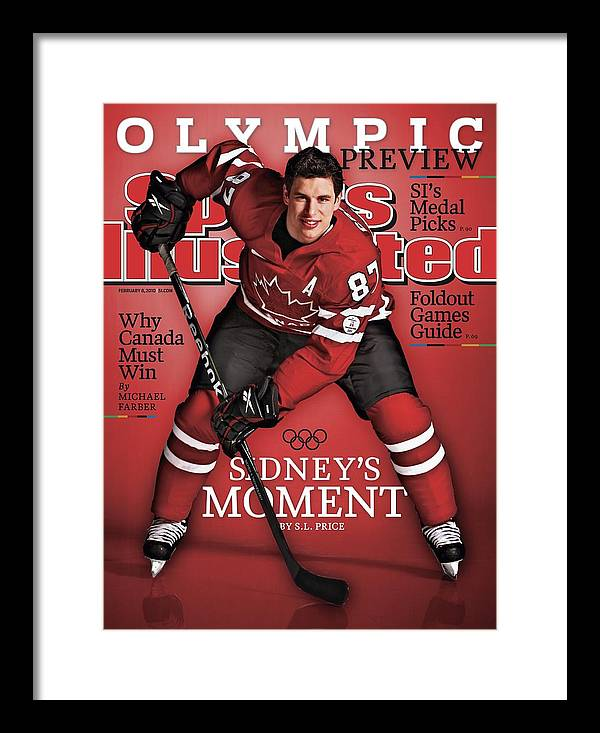 The Olympic Games Framed Print featuring the photograph Team Canada Sidney Crosby, 2010 Vancouver Olympic Games Sports Illustrated Cover by Sports Illustrated