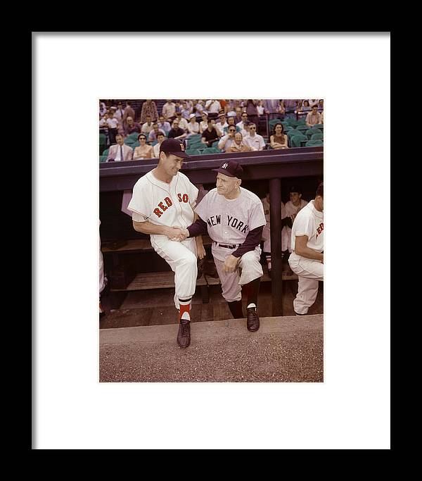 1950-1959 Framed Print featuring the photograph Ted Williams & Casey Stengel by Hulton Archive