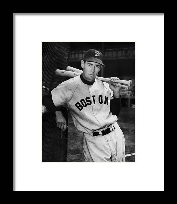 Baseball Cap Framed Print featuring the photograph Ted Williams by Fpg