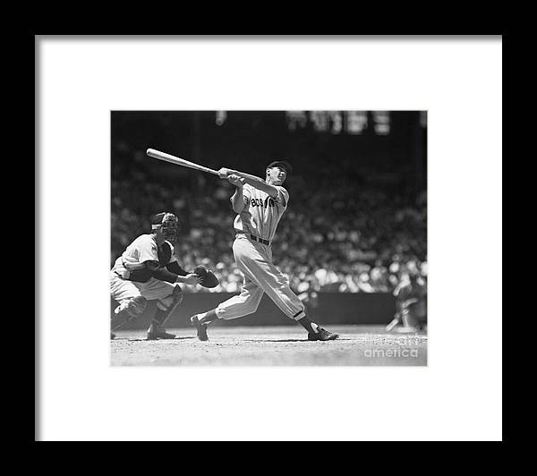 People Framed Print featuring the photograph Ted Williams Making A Hit by Bettmann