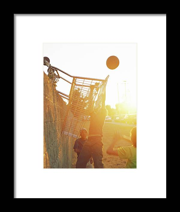 Hanging Framed Print featuring the photograph Teenage Boys 13-15 Playing Basketball by Sean Murphy