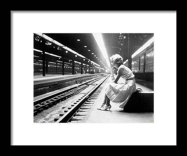 Child Framed Print featuring the photograph Teenage Girl Waiting For Train by Bettmann