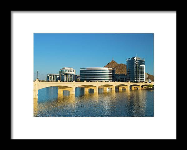 Salt River Framed Print featuring the photograph Tempe Skyline, River, And Bridge by Davel5957