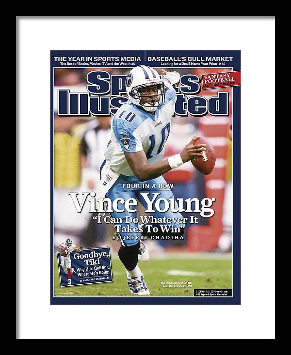 Magazine Cover Framed Print featuring the photograph Tennessee Titans Qb Vince Young... Sports Illustrated Cover by Sports Illustrated
