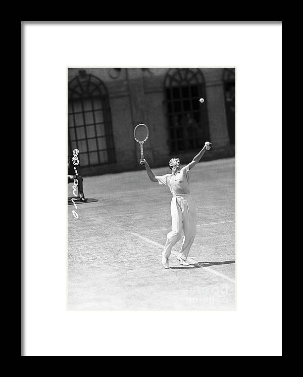 Playoffs Framed Print featuring the photograph Tennis Player Don Budge Serving Tennis by Bettmann