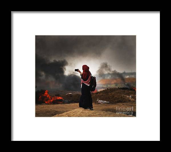 Palestinian Territories Framed Print featuring the photograph Tensions In Gaza Remain High by Spencer Platt