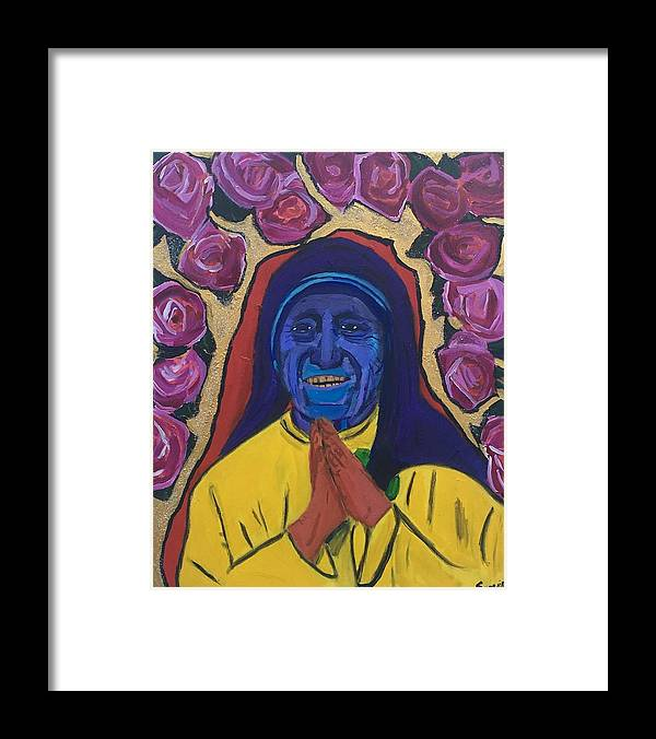#acrylic #abstractart #abstractexpressionism #abstractpainting #art #contemporaryart #contemporarypainting #blackabstractexpressionists #sonyelocksmith #abstractartist #explore #explorepage #curator #artgallery #artcollector #haitianamerican #haitianpainter #haitianartist #artbasel2019 #artbasel #motherteresa #love #peace #empathy #chakras #balance #goldteeth #goldteethart Framed Print featuring the painting Teresa Dade by Sonye Locksmith