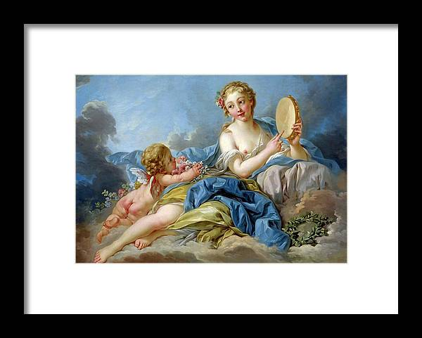 Boucher François Framed Print featuring the painting Terpischore the muse of choir and dance by Boucher Francois