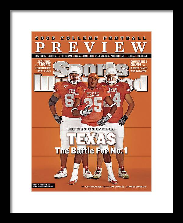 Sports Illustrated Framed Print featuring the photograph Texas Jamaal Charles, Justin Blalock, And Kasey Studdard Sports Illustrated Cover by Sports Illustrated