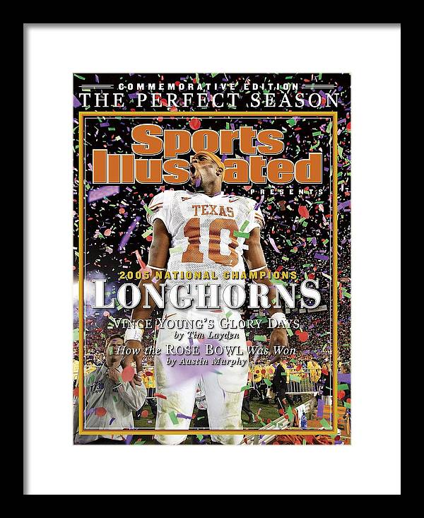 Magazine Cover Framed Print featuring the photograph Texas Qb Vince Young, 2006 Rose Bowl Sports Illustrated Cover by Sports Illustrated