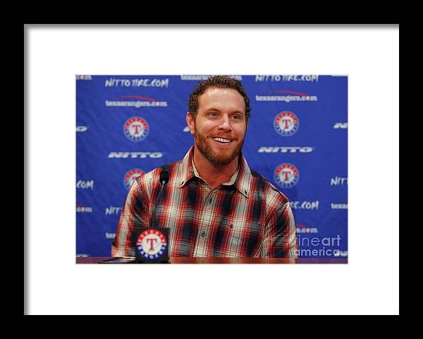 People Framed Print featuring the photograph Texas Rangers Introduce Josh Hamilton by Tom Pennington