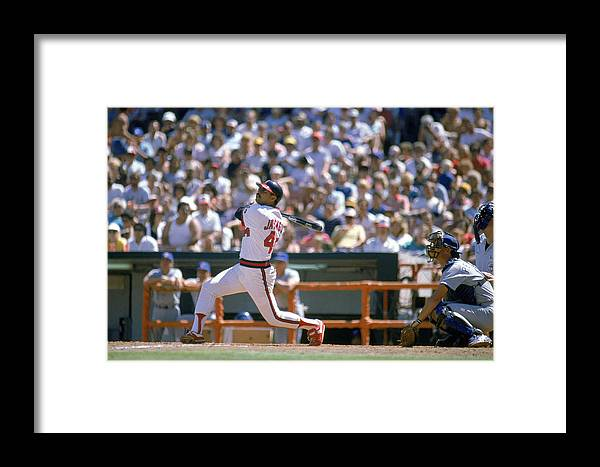 1980-1989 Framed Print featuring the photograph Texas Rangers V California Angels by Mike Powell