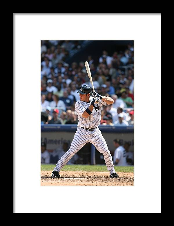 American League Baseball Framed Print featuring the photograph Texas Rangers V New York Yankees by Rich Pilling