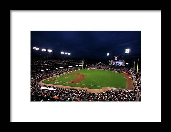 American League Baseball Framed Print featuring the photograph Texas Rangers V San Francisco Giants by Doug Pensinger