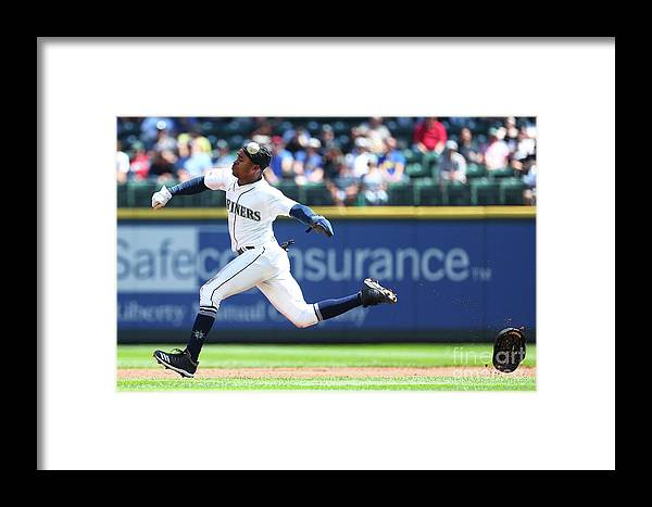 People Framed Print featuring the photograph Texas Rangers V Seattle Mariners by Abbie Parr