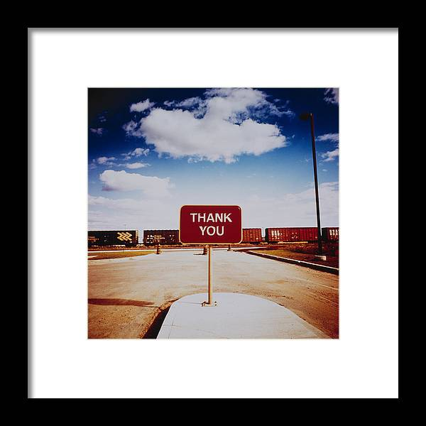 Thank You Framed Print featuring the photograph Thank You Sign by Silvia Otte