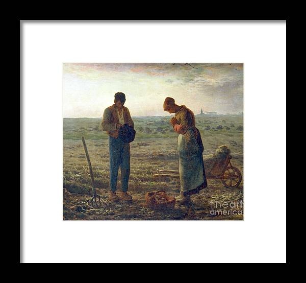 Farm Worker Framed Print featuring the drawing The Angelus, 1857-1859. Artist Jean by Print Collector