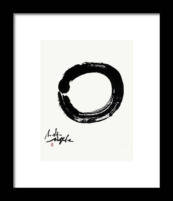 Enso Framed Print featuring the painting The Autumn Moon Enso by Nadja Van Ghelue