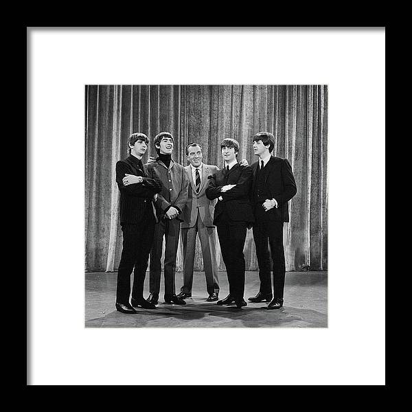 The Beatles Framed Print featuring the photograph the beatles and ed sullivan - February, 1964 by Mountain Dreams
