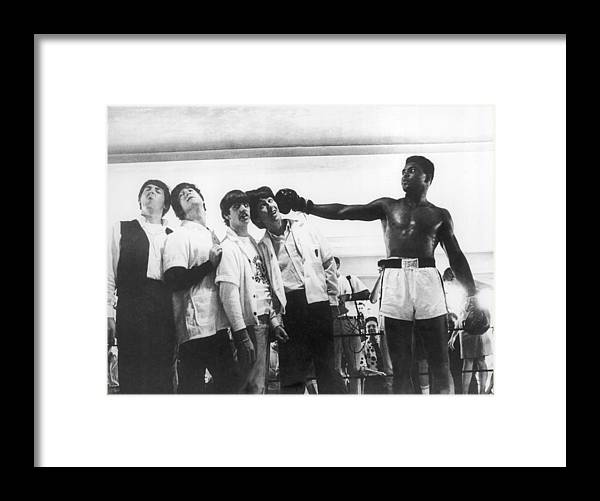 Sports Training Framed Print featuring the photograph The Beatles And Muhammad Ali In 1964 by Keystone-france
