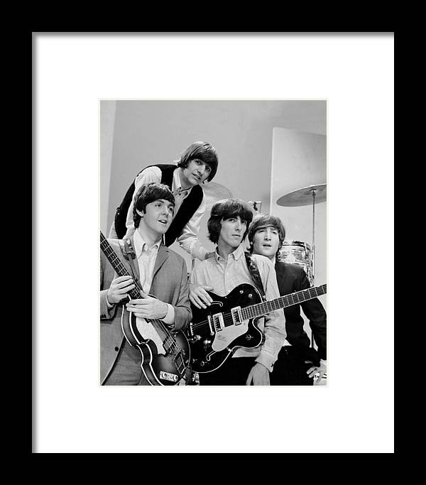 People Framed Print featuring the photograph The Beatles, Ringo Starr Rear And L. To by New York Daily News Archive