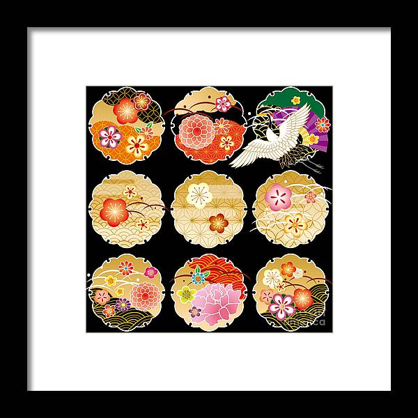 Monkey Framed Print featuring the digital art The Beautiful Pattern Of Japan by Rie Sakae