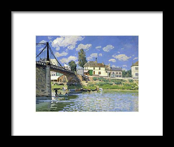 Alfred Sisley Framed Print featuring the painting The Bridge At Villeneuve-la-garenne - Digital Remastered Edition by Alfred Sisley
