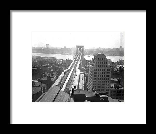 Suspension Bridge Framed Print featuring the photograph The Brooklyn Bridge by New York Daily News Archive