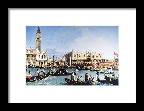 People Framed Print featuring the digital art The Bucintoro At The Molo On Ascension by Fototeca Gilardi