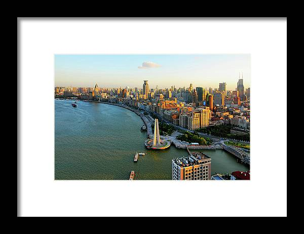 The Bund Framed Print featuring the photograph The Bund Sunset by Wei Fang