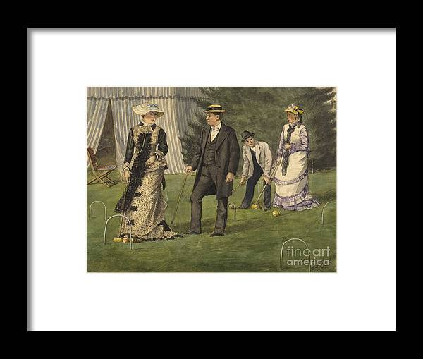 Painted Image Framed Print featuring the drawing The Croquet Game by Heritage Images