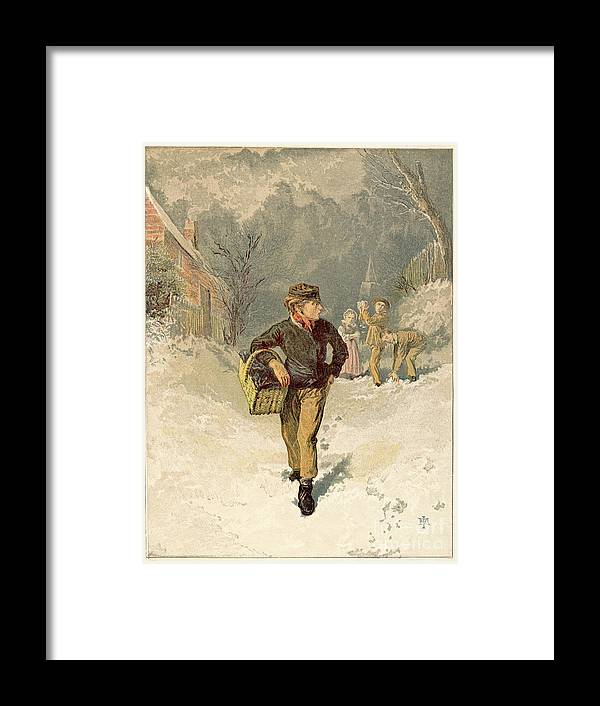 Working Framed Print featuring the drawing The Doctors Boy, 1866 by Print Collector
