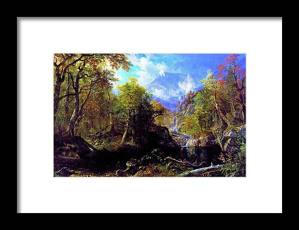 The Emerald Pool Framed Print featuring the painting The Emerald Pool - Digital Remastered Edition by Albert Bierstadt