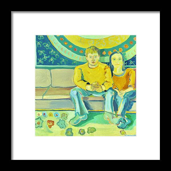 Portrait Framed Print featuring the painting The Engaged Couple by Debra Bretton Robinson
