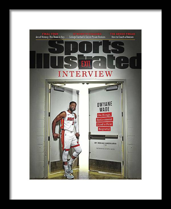 Magazine Cover Framed Print featuring the photograph The Exit Interview Miami Heat Dwyane Wade On Rings Sports Illustrated Cover by Sports Illustrated