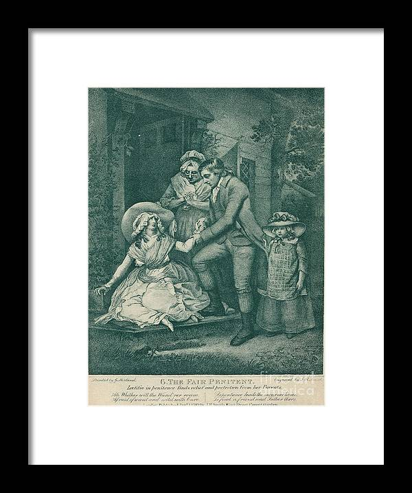 Engraving Framed Print featuring the drawing The Fair Penitent Laetitia In Penitence by Print Collector