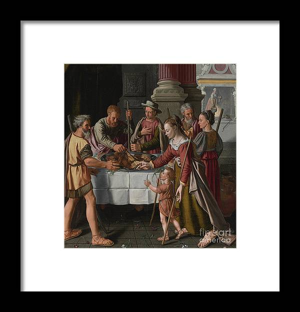Banquet Framed Print featuring the drawing The First Passover Feast by Heritage Images