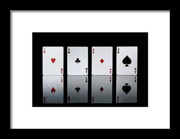 Risk Framed Print featuring the photograph The Four Aces From A Pack Of Playing by Sasha Weleber