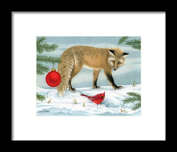 Christmas Framed Print featuring the painting The Fox And The Cardinal by Sarah Batalka
