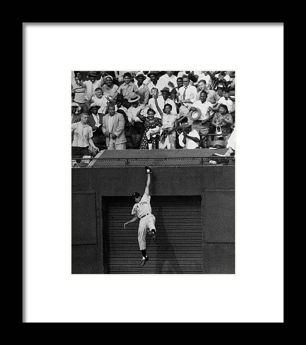 1950-1959 Framed Print featuring the photograph The Giants Amazing Willie Mays Amazes by New York Daily News Archive