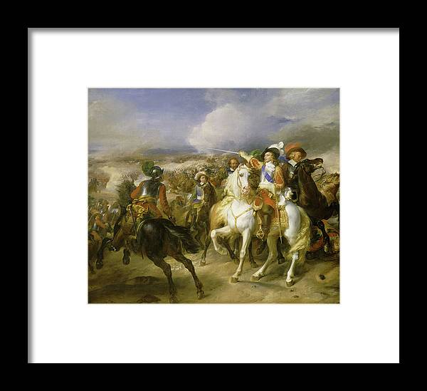 Franque Framed Print featuring the painting The Grand Conde At The Battle Of Lens, 1648 by Jean-Pierre Franque