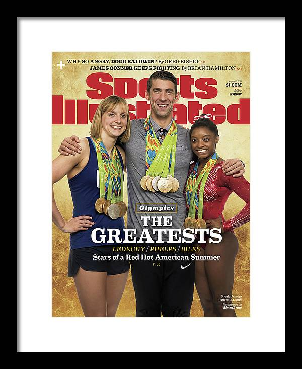 Magazine Cover Framed Print featuring the photograph The Greatests Ledecky Phelps Biles Sports Illustrated Cover by Sports Illustrated