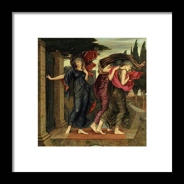 Evelyn De Morgan Framed Print featuring the painting The Grey Sisters, Phantoms, 1881 by Evelyn De Morgan