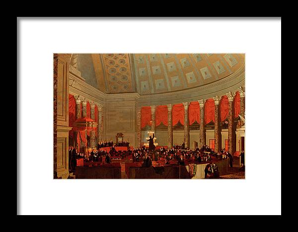Painting Framed Print featuring the painting The House Of Representatives, 1822 by Samuel Finley Breese Morse
