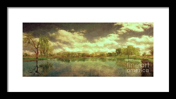 Scenic Framed Print featuring the photograph The Lake - Panorama by Leigh Kemp