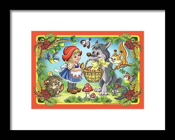 Wolf Framed Print featuring the digital art The Little Red Riding Hood by Olga And Alexey Drozdov