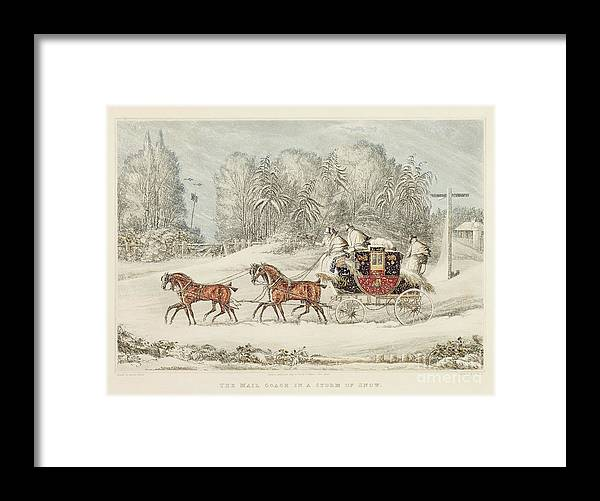 The Mail Coach In A Storm Of Snow Framed Print featuring the painting The Mail Coach In A Storm Of Snow 1825 by James Pollard